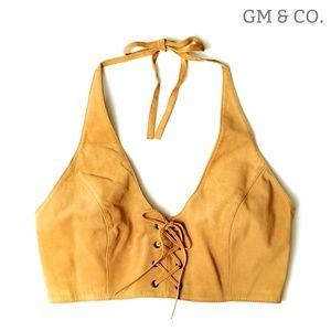 Just In~ Guess Leather Halter Top